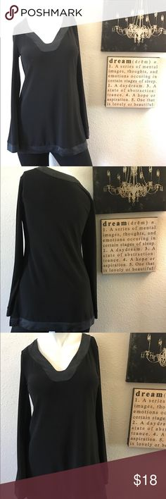 White House Black Market Tunic silk trim SZ SM Classy and sophisticated long sleeve Black Tunic with 100% silk trim detailing. Excellent condition no flaws. White House Black Market Tops Tunics