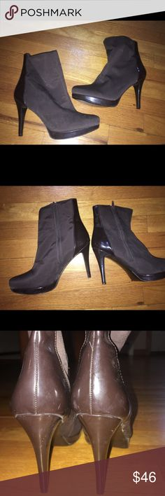 Charles David sexy brown platform booties 9 Charles, by Charles David- high heeled platform stiletto boots in brown patent leather & stretch material- excellent condition Charles David Shoes Ankle Boots & Booties