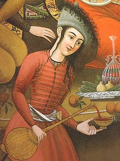A woman pouring wine from a 17th century wall  painting  in the Chehel Sotoun Palace, Iran.