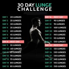 30 Day Lunge Challenge - Fitness Training Butt Workout Legs Calv