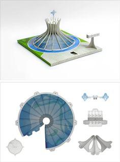 Catedral de Brasília por Hiroshi Homma Oscar Niemeyer, 3d Paper, Paper Toys, Paper Crafts, Bullet Journal Mood Tracker Ideas, Architecture Jobs, Modelos 3d, Graduation Project, Pottery Classes