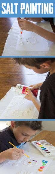 How to salt paint with your kids. Such a fun boredom buster!