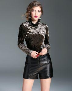 #AdoreWe #VIPme Blouses & Shirts - mojaser Light Coffee High Neck Long Sleeve Button Plain Velvet Top - AdoreWe.com