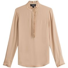 Theory Silk Blouse ($359) ❤ liked on Polyvore featuring tops, blouses, beige, beige top, pink top, silk blouses, flutter-sleeve top and ruffle blouse