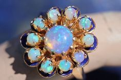 Vintage 14k Yellow Gold Bright Solid Australian Opal Blue Enamel Cluster Ring | eBay