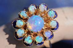 Vintage 14k Yellow Gold Bright Solid Australian Opal Blue Enamel Cluster Ring   eBay