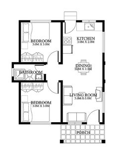 Small House Floor Plans with Porches - 2018 House Plans and Home Design Ideas Small House Floor Plans, Simple House Plans, Home Design Floor Plans, Simple House Design, House Floor Design, The Plan, How To Plan, 2 Bedroom House Plans, 2 Room House Plan