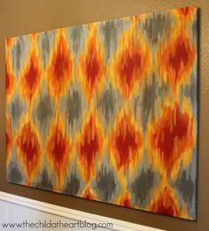 Community: 18 Simple DIY Canvas Wall Hangings To Brighten Any Room Diy Canvas Art, Diy Wall Art, Canvas Artwork, Diy Art, Canvas Ideas, Canvas Paintings, Ikat Painting, Pattern Painting, Pour Painting