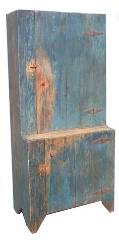Stepback Cupboard from Union Co. North Carolina, the wood is yellow pine, with the original blue, circa are 13 deep top x 19 deep bottom x 33 wide x 72 tall~♥~ Primitive Furniture, Primitive Antiques, Country Furniture, Country Primitive, Country Decor, Vintage Furniture, Painted Furniture, Primitive Hutch, Primitive Decor
