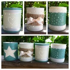 Tin can candle holders made from recycled tin cans!