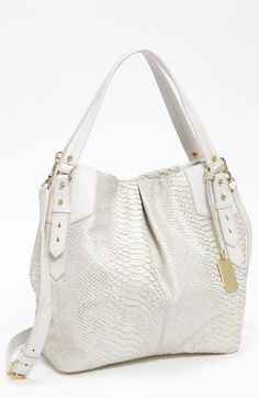 White metallic snakeskin bag.. On trend and so versatile.