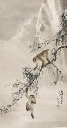 Monkeys and Snowy Pine - (1916) by Gao Qifeng
