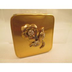 Bliss Bros Mirror Compact 24 k GEP Gold Rhinestone Rose Make-Up Ladies... ($40) ❤ liked on Polyvore featuring beauty products and beauty accessories