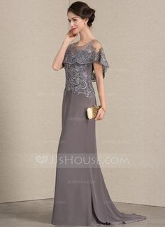 A-Line/Princess Scoop Neck Sweep Train Chiffon Lace Mother of the Bride Dress - Mother of the Bride Dresses - JJ's House Mother Of Bride Outfits, Mother Of The Bride Gown, Mother Of Groom Dresses, Mothers Dresses, Vestidos Mob, Velvet Bridesmaid Dresses, Dressy Dresses, Peplum Dresses, Bride Dresses