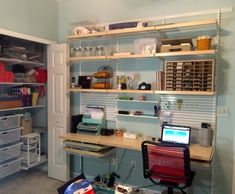 Check out this before and after office/craft room using elfa from The Container Store!