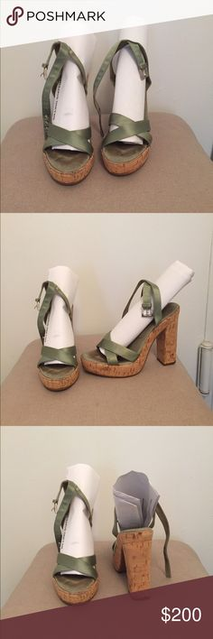 PRADA sandals with green Satin and Cork - SZ 39 PRADA sandals with green Satin and Cork - SZ 39. Have been worn twice but still in great condition! Great value for Prada Shoes. Please feel free to reach out with any questions! Prada Shoes Heels