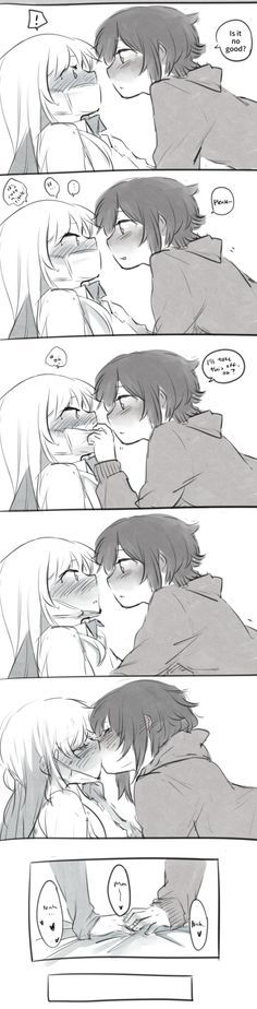 Fun fact: Kissing raises core body temperature and releases relaxing hormones, which are good when you're sick. So all the person who isn't sick has to do is boost their immune system. Anime Girlxgirl, Yuri Anime, Anime Eyes, Anime Comics, Kawaii Anime, Couple Amour Anime, Couple Anime Manga, Anime Couple Kiss, Manga Girl