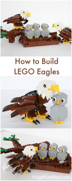 How to Build a LEGO Bald Eagle (with Eaglets!) - Frugal Fun For Boys and Girls - How to Build a LEGO Bald Eagle (with Eaglets). This is adorable! Lego Design, Activities For Kids, Crafts For Kids, Diy For Kids, Legos, Lego Hacks, Lego Challenge, Lego Craft, Lego For Kids