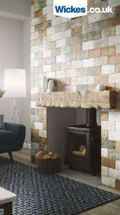 Create a traditional brick and mortar look fireplace without a remodel. Adding brick effect porcelain tiles with a timber beam creates the ultimate living room feature space.