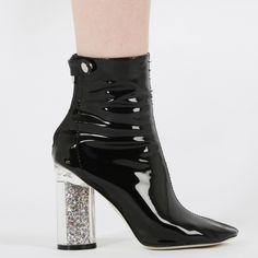 Lia Glitter Heel Ankle Boots in Black Patent T36