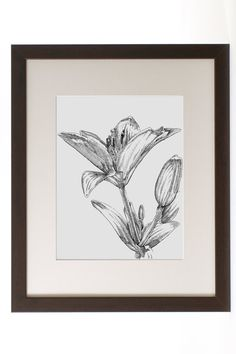 Ink Flower Drawing Ink Drawing Floral Art Lilies by REdeFINEART #drawing #flowers #homedecor #wallart #shoplocal #illustration