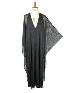 Baylis & Knight sheer black plunge maxi studio 54 dress