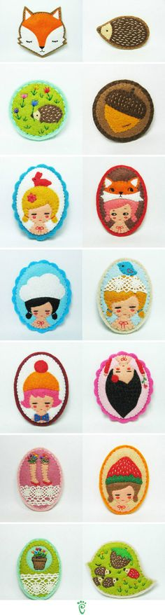 "Handmade embroidered felt brooches ""wearable felt portraits of imaginary dolls"" by HanaLetters via Etsy, http://www.etsy.com/shop/hanaletters"