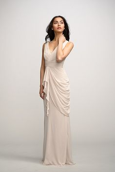 Watters Violet 2591 - V-neck crinkle chiffon floor length bridesmaid dress with natural waist and asymmetrical side drape.