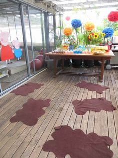This site has lots of peppa pig birthday party ideas.... could do muddy puddles with cloth and turn it into a game to get to the other side
