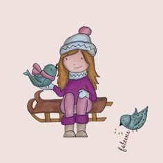#winter time  Carolina Falcone Illustration Winter Time, Smurfs, Markers, Illustrations, Fictional Characters, Art, Art Background, Sharpies, Kunst