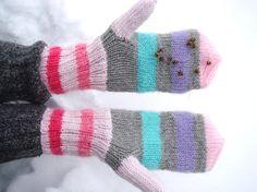 Knitted Gloves  Cute women mittens UNICORN by RainbowMittens