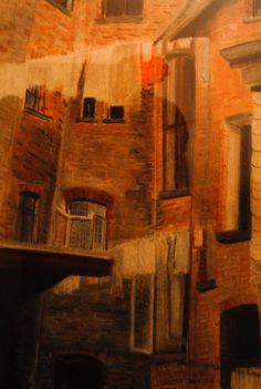 Kreidezeichnung eines Hinterhofs mehr unter: Painting, Art, Chalk Drawings, Art Therapy, Art Gallery, Artworks, Pictures, Art Background, Painting Art