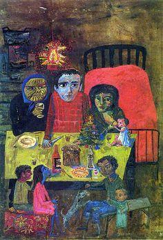 En La Navidad, Berni modifica las perspectivas para acrecentar el dramatismo de la escena –Juanito, sus padres, una abuela, sus hermanos, alrededor de una mesa donde destaca un pan dulce-, que acentúa con el toque rojo del cubrecama y el reverbero del farol de querosene semejante a un fuego de artificio, en el entorno lúgubre de la tapera.  Fuente:http://bit.ly/JnKqsi