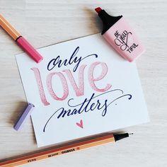 only love matters - handlettering Hand Lettering Quotes, Doodle Lettering, Creative Lettering, Brush Lettering, Handwritten Typography, Stabilo Point 68, Instagram Hacks, Stabilo Boss, Karten Diy