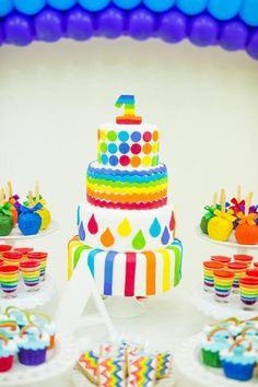 Cake at rainbow party #rainbow #cake #party