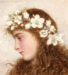 """A Girl Wearing A Garland Of Wild Roses""  que l'on trouve en 1371 x 1500 sur f-lite.ru"