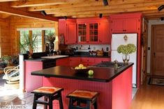 Rustic red kitchen - simple decor