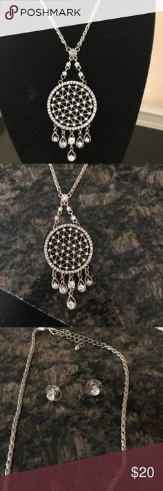 Silver rhinestone necklace set Silver with rhinestones. Dream catcher influence. Robe style necklace Jewelry Necklaces