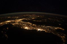 """An astronaut aboard the International Space Station captured a jaw-dropping nighttime panorama over Europe, with the """"boot"""" of Italy clearly defined by the country's twinkling lights. // NASA"""
