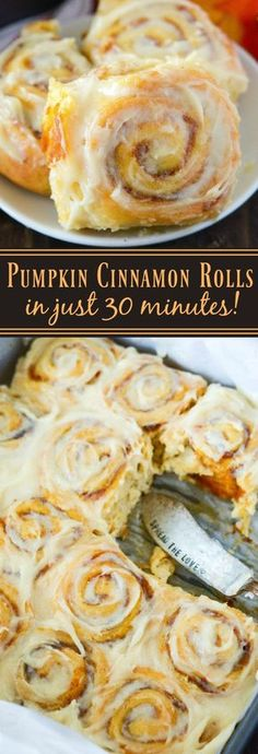Pumpkin Cinnamon Rolls - Made in just 30 minutes! Sweet pumpkin cinnamon rolls are made quickly with crescent dough and then covered in a delicious cream cheese frosting!