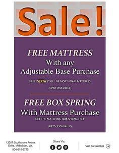 Join us Jan thru Jan For our Free Mattress & Free Box Spring Extravaganza!