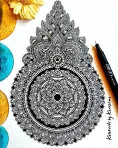 These days, I'm trying to incorporate some free flowing shapes to my mandala designs. It gets a bit difficult to achieve symmetry with such… Mandala Art Lesson, Mandala Doodle, Mandala Artwork, Doodle Art Drawing, Zentangle Drawings, Mandala Drawing, Zentangles, Unique Drawings, Art Drawings Sketches