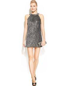 Alfani Metallic Bubble-Hem Halter Dress