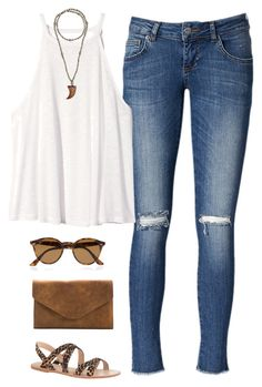 """I'm Backkkk"" by thevirginiaprep ❤ liked on Polyvore featuring Anine Bing, H&M, Ray-Ban, Hipchik, Meckela and J.Crew"