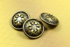 Trefoil Crowns Metal Buttons , Brass Color , Shank , 0.71 inch , 10 pcs by Lyanwood, $6.00