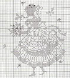 point de croix  femme vintage - cross-stitch vintage woman