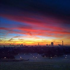 Epic sunrise over the London skyline, as seen from Primrose Hill, Regent's Park.