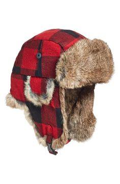 Men s Woolrich Plaid Aviator Cap with Genuine Rabbit Fur Trim  80.00   topseller Lumberjack Outfit 1a4a1259e46b