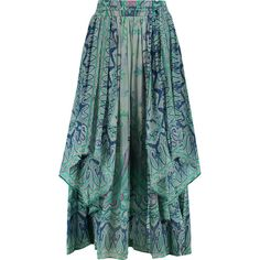 Etro Draped printed crinkled-silk midi skirt (£638) ❤ liked on Polyvore featuring skirts, sky blue, multicolor skirt, multi colored skirt, green midi skirt, mid calf skirts and tassel skirt