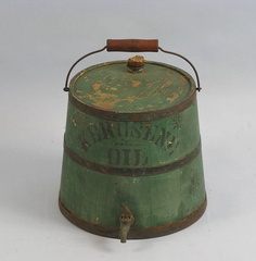 Mid 19th c , wooden kerosene bucket with original green paint